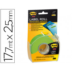 Etiqueta adhesiva postit super stick removibles en rollo 254mm x 177mt c
