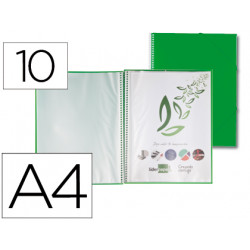 Carpeta liderpapel escaparate con espiral 10 fundas polipropileno din a4 ve