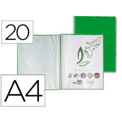 Carpeta liderpapel escaparate con espiral 20 fundas polipropileno din a4 ve