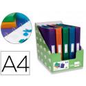 Carpeta liderpapel 4 anillas 25mm mixtas polipropileno din a4 colores surti
