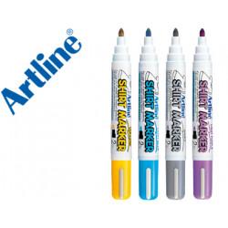 Rotulador artline camiseta ekt2 amarillogrisceleste y violeta punta redo