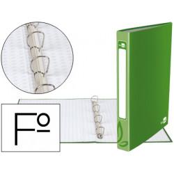 Carpeta de 4 anillas 25mm redondas liderpapel folio carton forrado verde