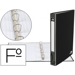 Carpeta de 4 anillas 25mm redondas liderpapel folio carton forrado negra