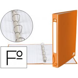 Carpeta de 4 anillas 25mm redondas liderpapel folio carton forrado naranja