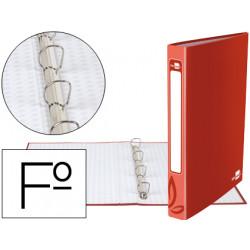 Carpeta de 4 anillas 25mm redondas liderpapel folio carton forrado roja