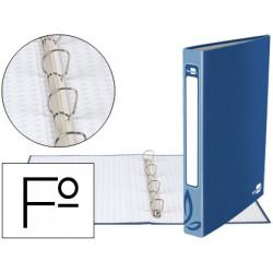 Carpeta de 4 anillas 25mm redondas liderpapel folio carton forrado azul