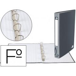 Carpeta de 4 anillas 25mm redondas liderpapel folio carton forrado gris