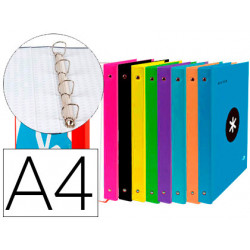 Carpeta 4 anillas 40 mm mixtas liderpapel antartik a4 forrada colores surti