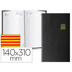 Agenda encuadernada ingraf mega 14x31 cm 2018 dia pagina color negro papel