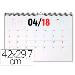 Calendario pared liderpapel 2018 42x297 cm papel 70gr