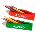 Bolso escolar alpino portatodo forma lapiz soft con 12 lapices de colores
