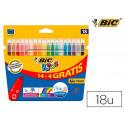 Rotulador bic kids couleur estuche de 14 + 4 colores tinta base de agua lav