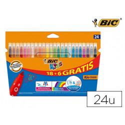 Rotulador bic kids couleur estuche de 18 + 6 colores tinta base de agua lav