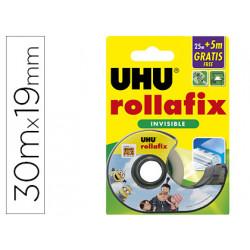 Miniportarrollo uhu rollafix minions cinta invisible 25 + 5 m x 19 mm