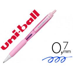 Boligrafo uniball jetstream retractil sxn101 07 mm rosa claro tinta azul