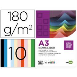 Cartulina liderpapel a3 180g/m2 10 colores surtidos paquete 100 hojas