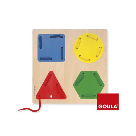 Juego goula didactico enhebrar formas geometricas