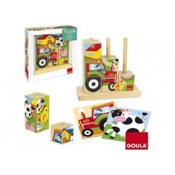 Puzzle goula cubos granja 9 piezas