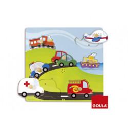Puzzle goula sonoro vehiculos 7 piezas