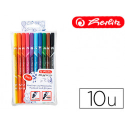 Rotulador herlitz mypen doble punta 05/4 mm blister de 10 colores surtido