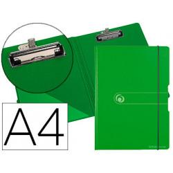 Carpeta herlitz con pinza superior a4 polyfoam verde / gris cierre gomilla