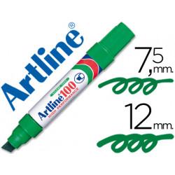 Rotulador artline marcador permanente 100 verde punta biselada