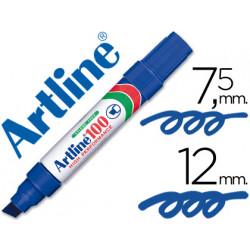 Rotulador artline marcador permanente 100 azul punta biselada