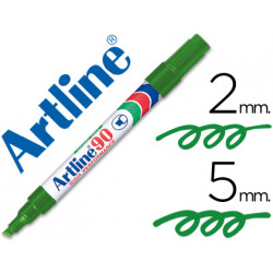 Rotulador artline marcador permanente ek90 verde punta biselada 5 mm pap