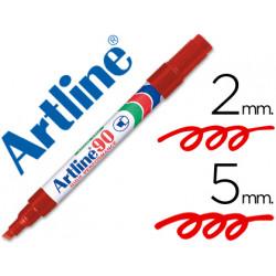 Rotulador artline marcador permanente ek90 rojo punta biselada 5 mm pape